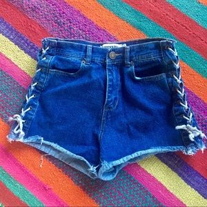 High waisted jean shorts with lace up sides!